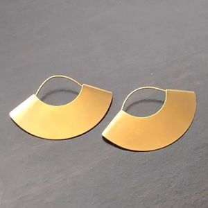 Fan Dangle Half Moon Gold Earrings Hoops